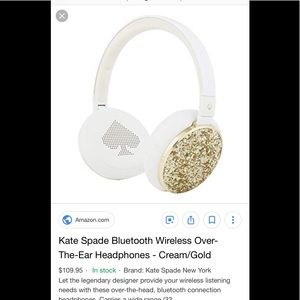 New Kate spade white and gold glitter headphones